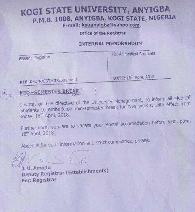 Kogi State University medical students mid semester break
