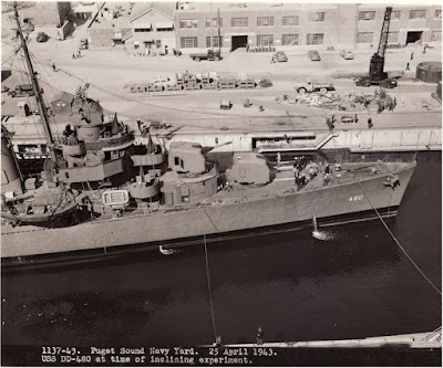 1137-43. Puget Sound Navy Yard. 25 April 1943. USS Halford DD-480 at time of inclining experiment.