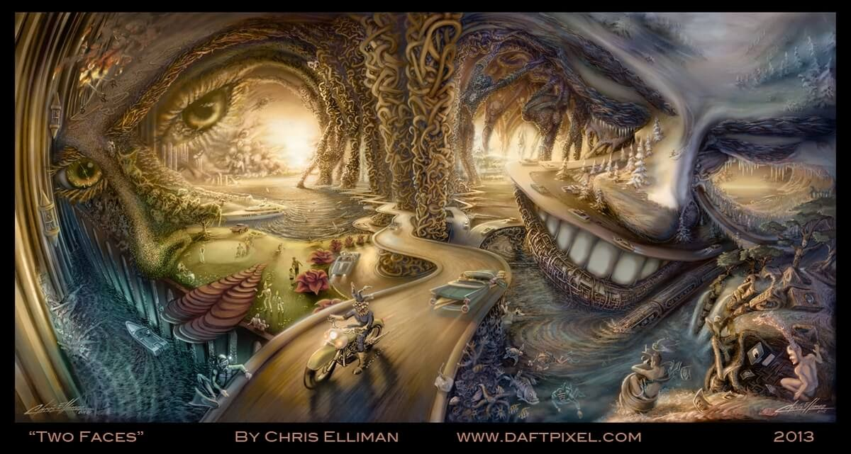05-Two-Faces-Chris-Elliman-Surreal-Paintings-full-of-Meaning-and-Symbols-www-designstack-co