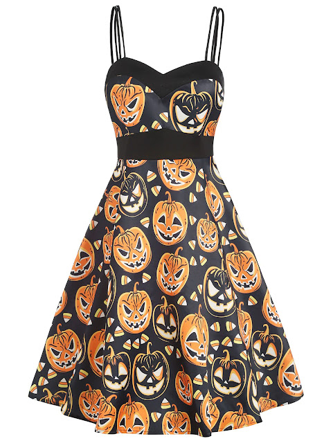 Double Straps High Waist Halloween Pumpkin Dress