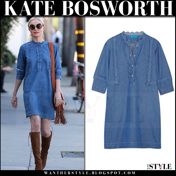 Kate Bosworth in blue denim mih jeans angie mini dress and suede boots what she wore streetstyle