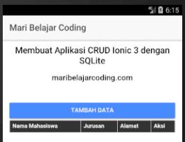 Membuat Aplikasi CRUD Ionic 3 dengan SQLite