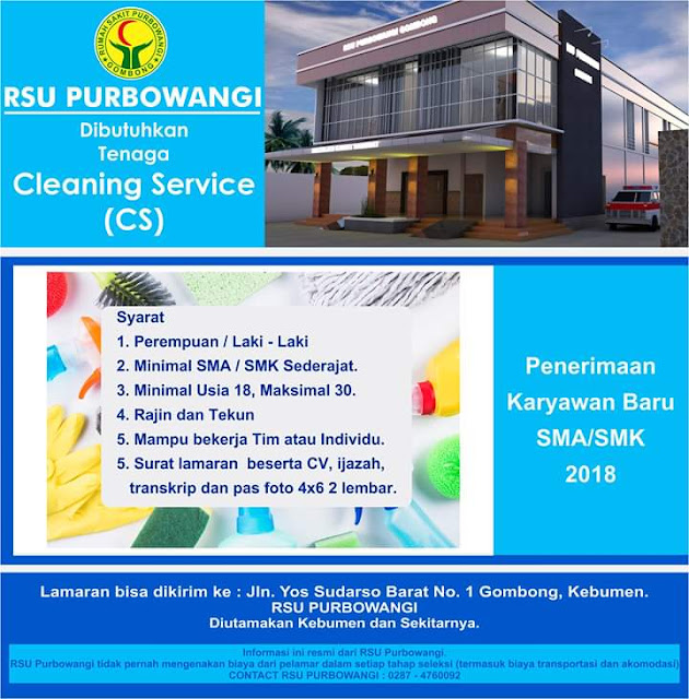 Lowongan Cleaning Service di RSU Purbowangi