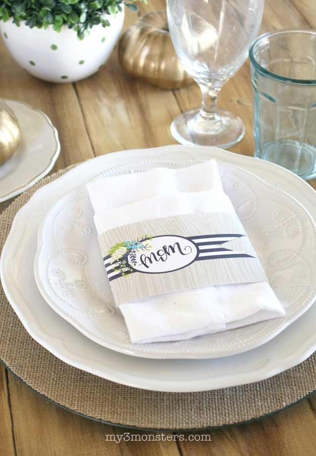 Hosting Thanksgiving?  Take your table to the next level with these darling Thanksgiving Party Printables from my3monsters.com