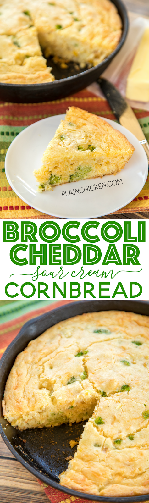 Broccoli Cheddar Sour Cream Cornbread Recipe - only 7 ingredients ...
