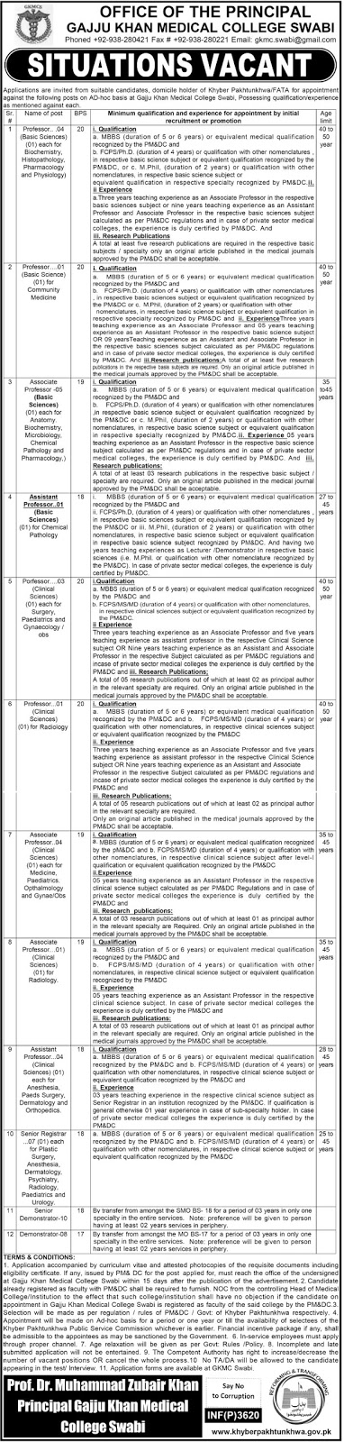 Medical Teaching and Faculty Jobs in Gajju Khan Medical College Swabi Jobs 2016