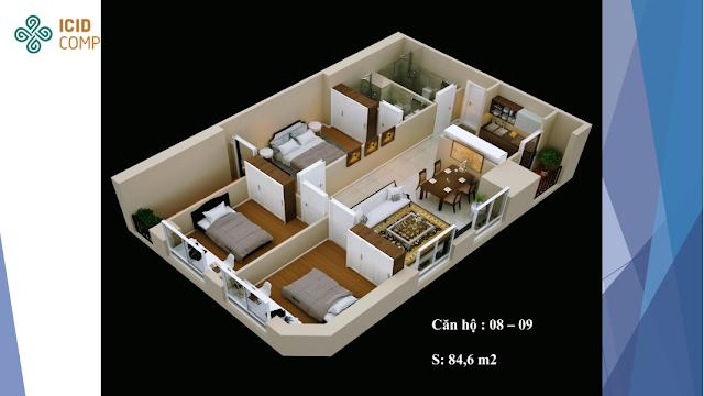 Thiết kế căn hộ 08 - 09 diện tích 84,6m2 ICID COMPLEX