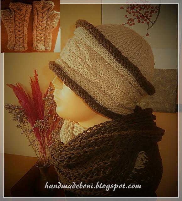Zimowy komplet – czapka, komin i mitenki . Zrób razem ze mną :-)