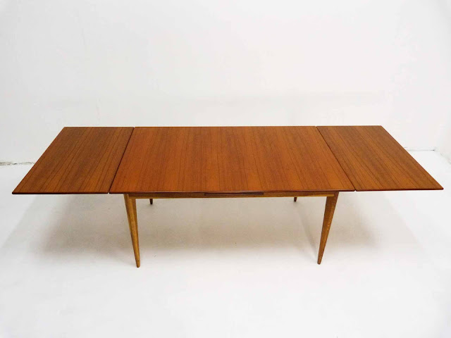 J.O. Carlsson Swedish Teak Draw-Leaf Dining Table Front Top