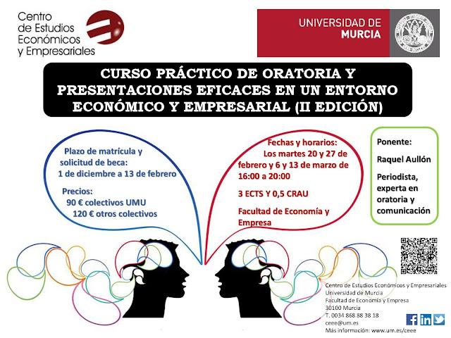 Curso práctico de oratoria y presentaciones eficaces en un entorno económico y empresarial.