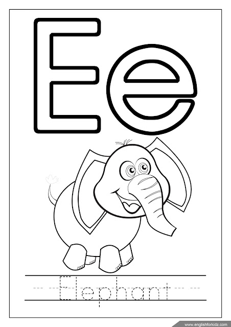 Alphabet coloring page, letter e coloring, e is for elephant