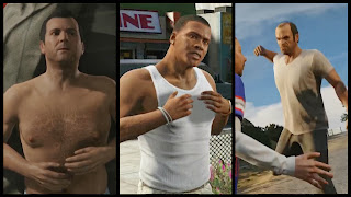 Screenshots of GTA's three playable characters