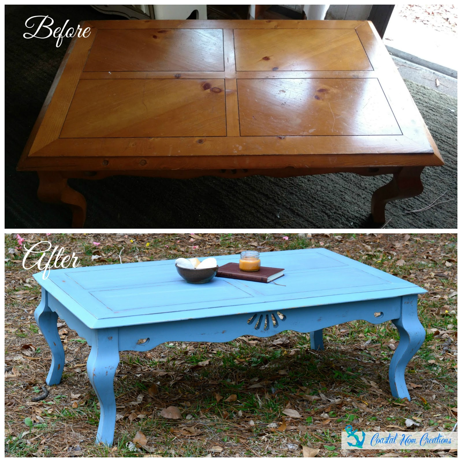 Coastal Mom Creations Distressed Cottage Style Coffee Table