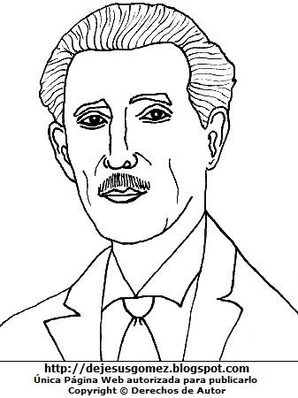 Gráfico de Eleazar López Contreras para colorear o pintar para niños. Dibujo de Eleazar López Contreras de Jesus Gómez