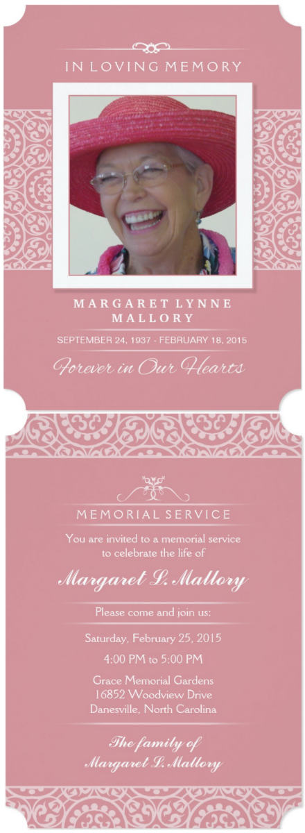 pink & white elegance memorial invitation card front and back