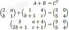 Operasi matriks A+B = C transpose