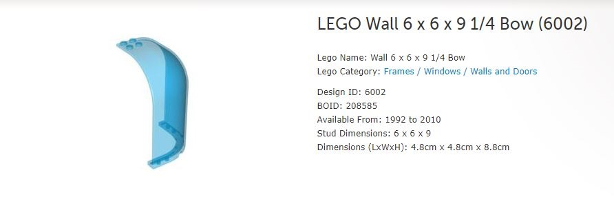 Lego 4 x Clear Transparent Wall Quarter Circle 4 x 4 x 6