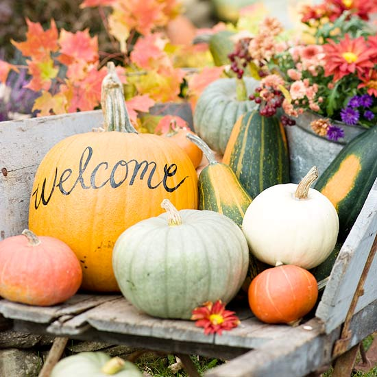 fall welcome display for weddings or home | https://www.oh-lovely-day.com/2011/10/fall-break.html
