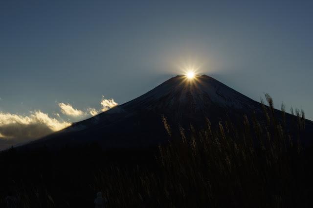 山中湖花の都公園からのダイヤモンド富士