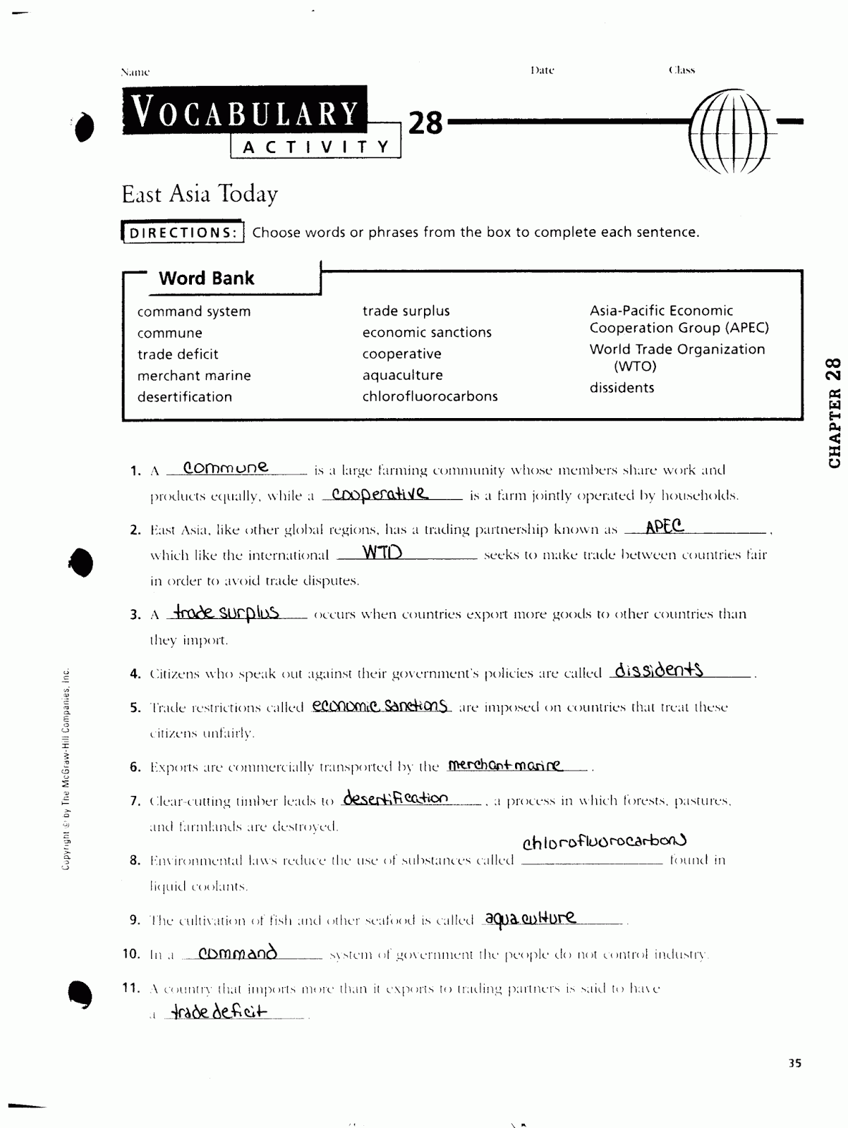 Deposition Worksheet Key