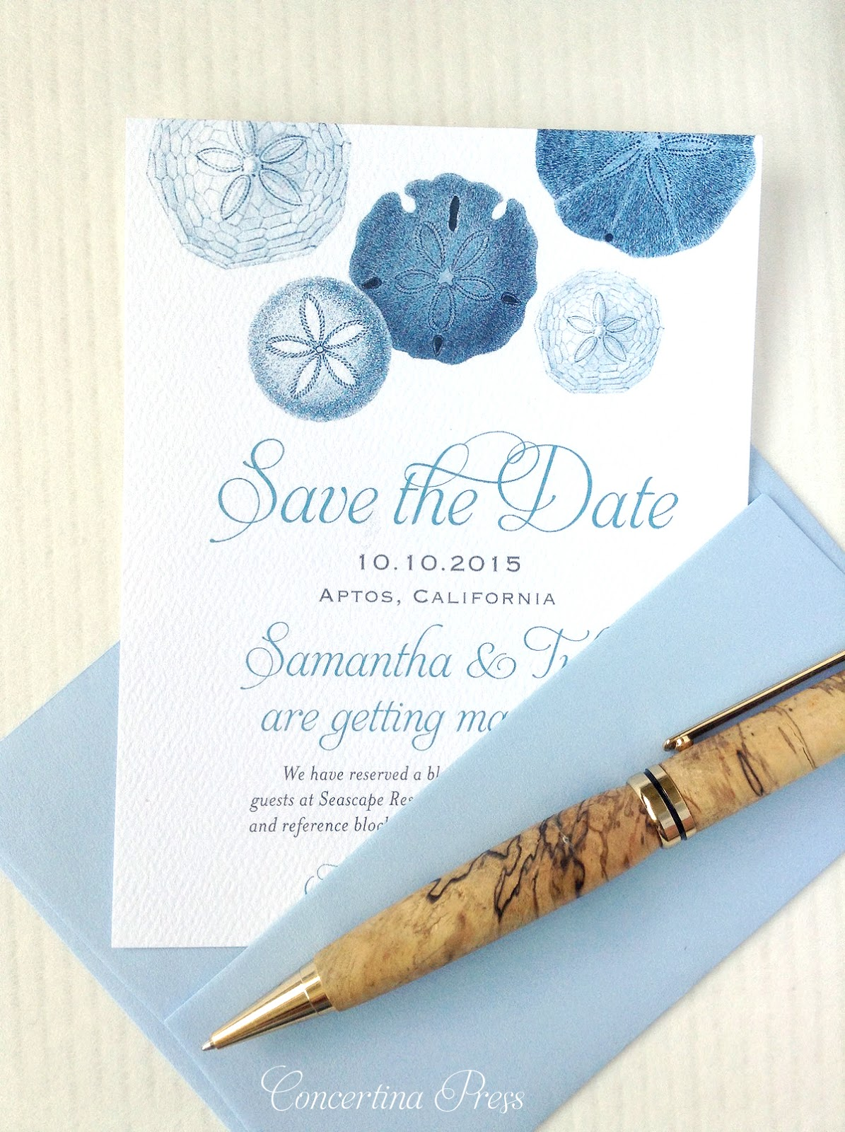 Sand Dollar Save the Dates for a California Beach Wedding