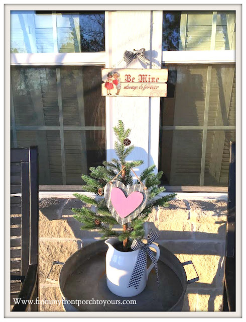Valentines Day Front Porch-Tree-Tin Heart-Valentines Decor-From My Front Porch To Yours