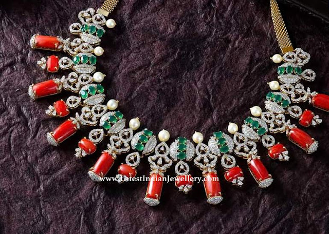 Handpicked Coral Diamond Necklace