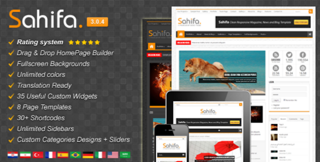 Sahifa Template for Blogger Free Download