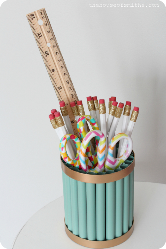 Gold and Jade DIY Pencil Holder - Homework Station - Office Organization - thehouseofsmiths.com