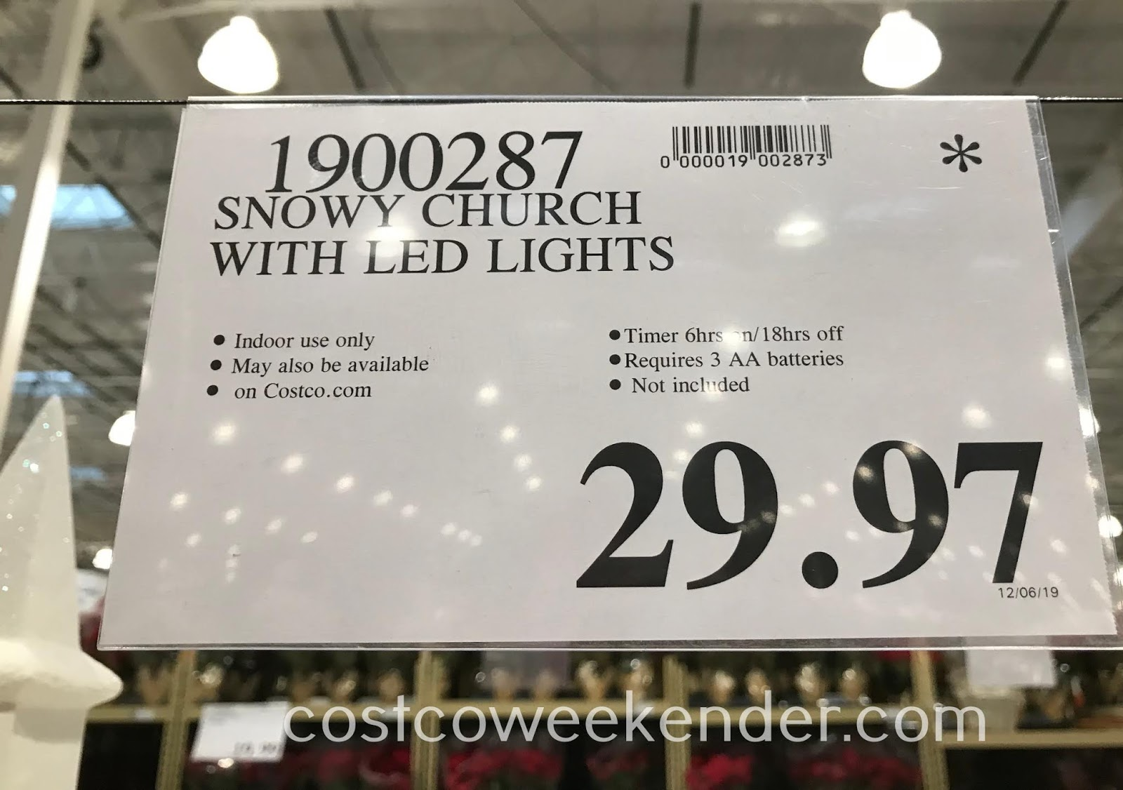 Deal for the Snowy Church with LED Lights at Costco