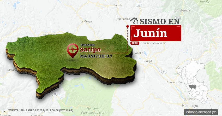 Temblor en Junín de 3.7 Grados (Hoy Sábado 23 Septiembre 2017) Sismo EPICENTRO Satipo - Chanchamayo - Huancayo - IGP - www.igp.gob.pe