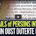 LOOK:  Mga Pangalan Na Sangkot Sa Planong Pagpatalsik Kay Pangulong Duterte, Ipinalabas Sa Publiko