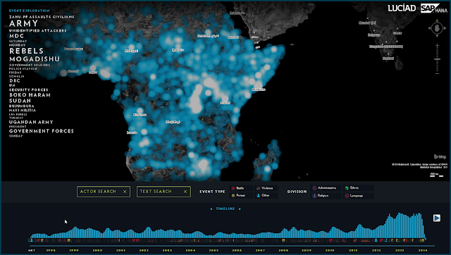 Image Attribute: The combination of LuciadLightspeed and SAP HANA provides a visual analysis of violent events in Africa over the last 20 years.