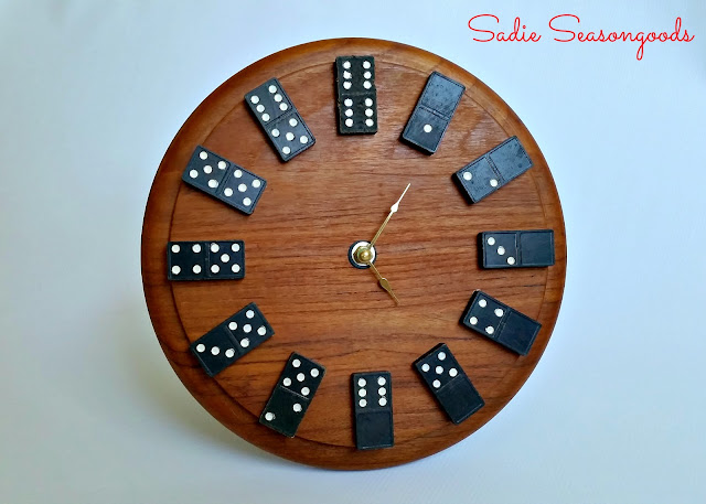 Repurposed Cutting Board & Domino Clock by Sadie Seasongoods via Prodigal Pieces www.prodigalpieces.com