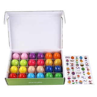 BESTOYARD Toy Filled Easter Eggs for Children 24 Pack, Includes Easter Sticker and Random Toys