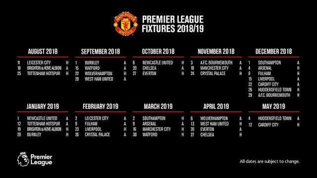 Jadwal Manchester United di Liga Inggris 2018-2019