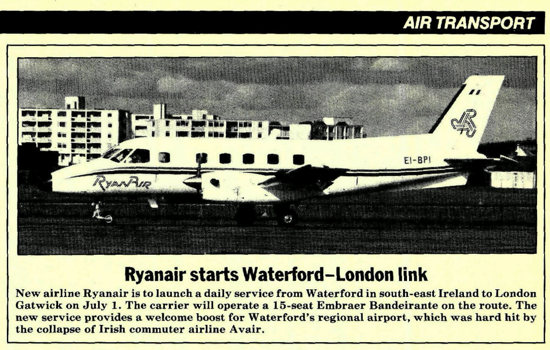 Ryanair announcement 1985