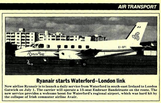 Ryanair announcement 1985