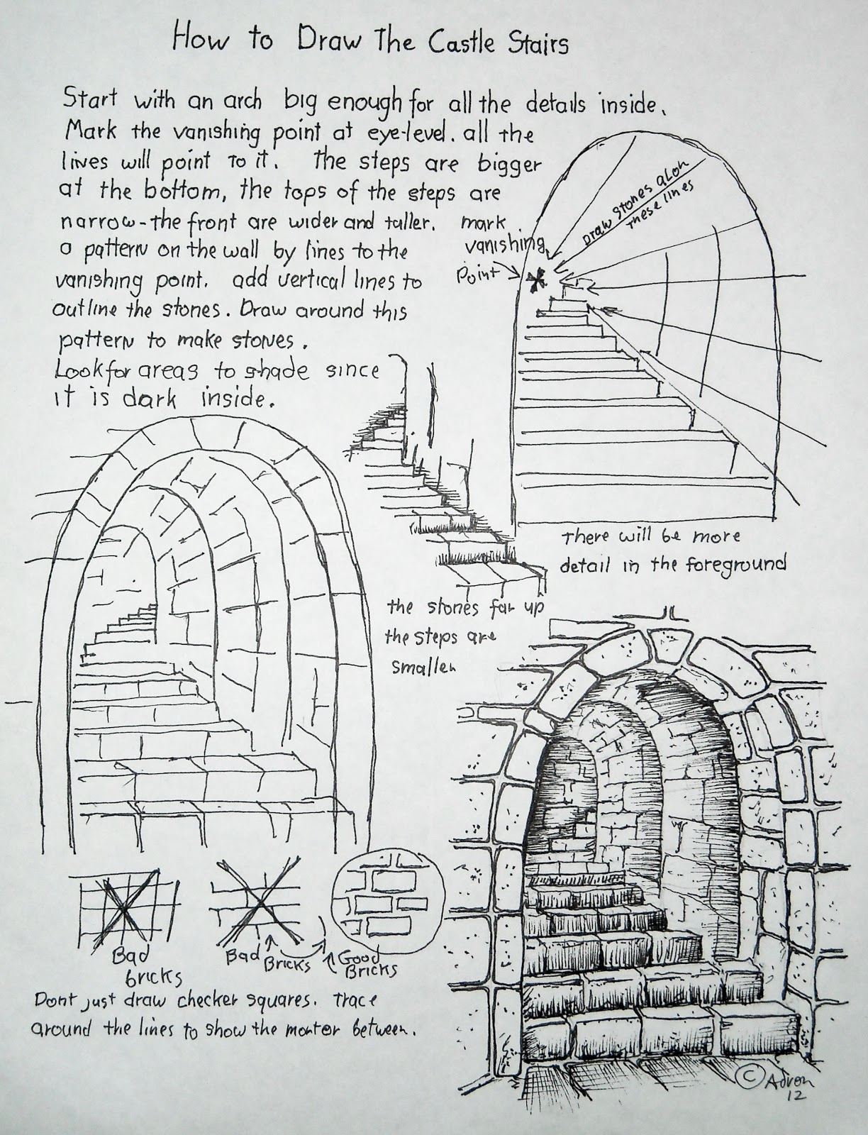 How To Draw Worksheets For The Young Artist How To Draw Stone Stairs Lesson And Worksheet