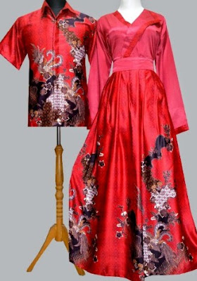 Model Baju Batik Kombinasi polos