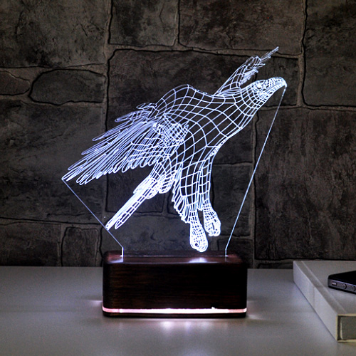 3 Boyutlu Kartal LED Lamba
