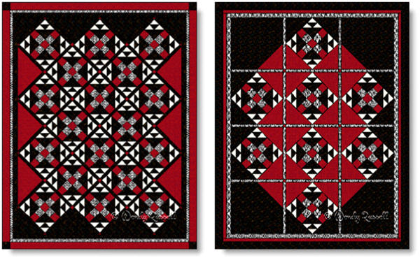 Quilts designed using the MRS. KELLER'S NINE PATCH quilt block - images © Wendy Russell