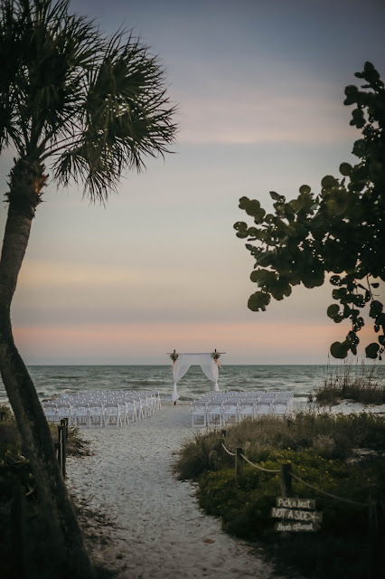 Beach ceremony site at wedding on sanibel island