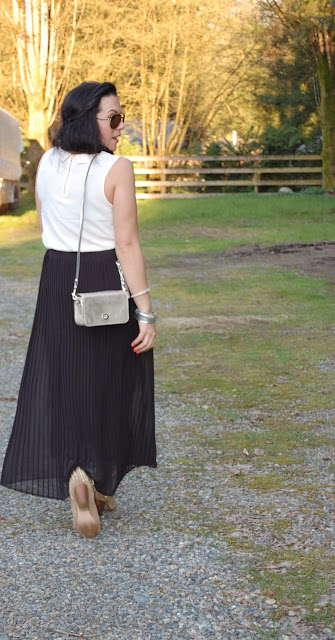 Topshop tank, Laura pleated maxi skirt, Coach Legacy crossbody and Zara studded suede boots