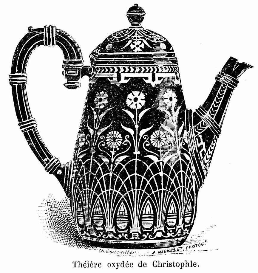 an 1882 decorated tea pot, illustration