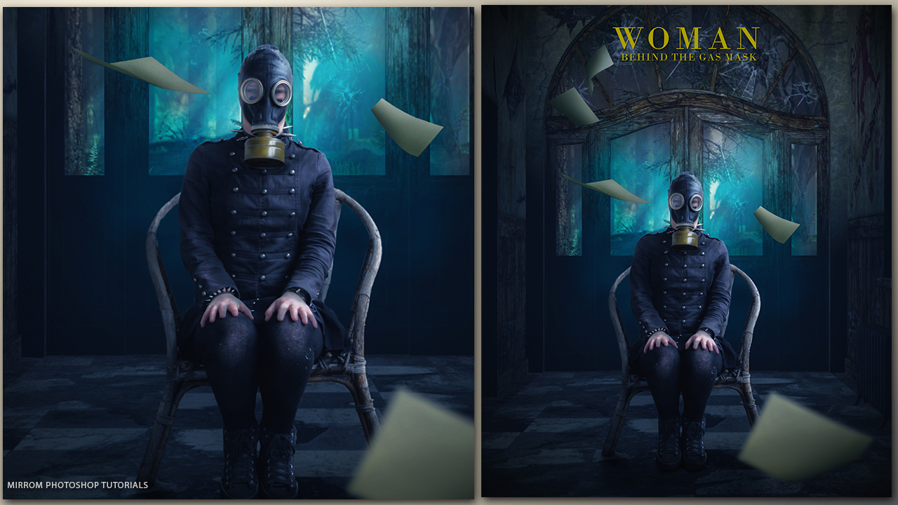 Create Woman Behind The Gas Mask Photo Manipulation Tutorial