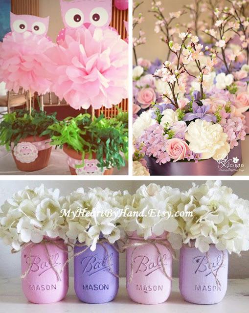 Variante de aranjamente florale in culorile mov, roz si alb cu flori si bufnite