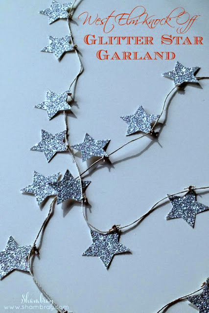 West Elm Knock Off Glitter Star Garland