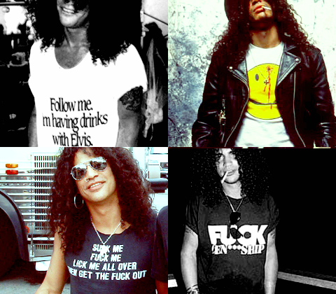 Slash's collection of offensive T-Shirts.  PYGear.com