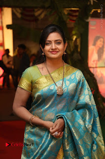 Actress Indraja Stills in Blue Silk Saree at Shatamanam Bhavathi Audio Launch  0013.JPG